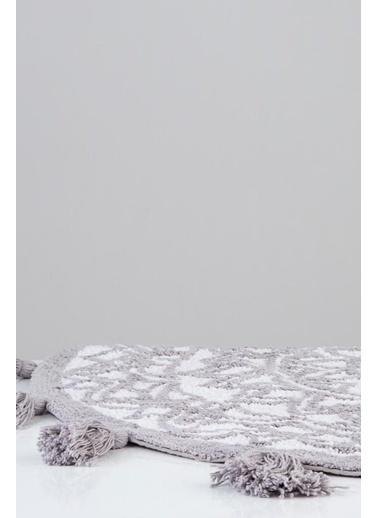 İrya Pamuk Paspas  Layla Beyaz-Grı 100*100 Beyaz